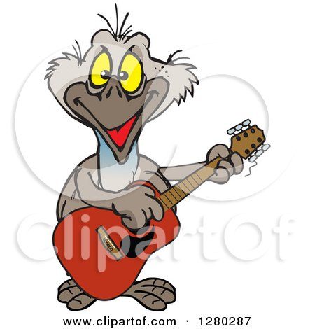 Clipart of a Happy Emu Bird Playing an Acoustic Guitar - Royalty Free Vector Illustration by Dennis Holmes Designs