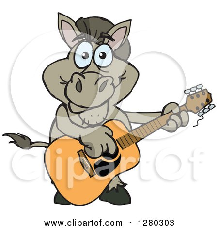 Clipart of a Happy Donkey Playing an Acoustic Guitar - Royalty Free Vector Illustration by Dennis Holmes Designs