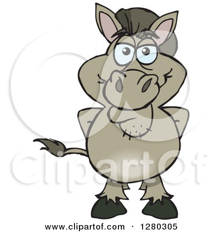 Clipart of a Happy Donkey Standing - Royalty Free Vector Illustration by Dennis Holmes Designs