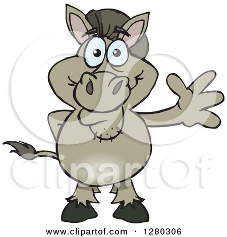 Clipart of a Happy Donkey Standing and Waving - Royalty Free Vector Illustration by Dennis Holmes Designs