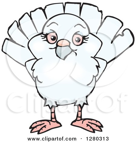 Clipart of a Happy White Dove - Royalty Free Vector Illustration by Dennis Holmes Designs