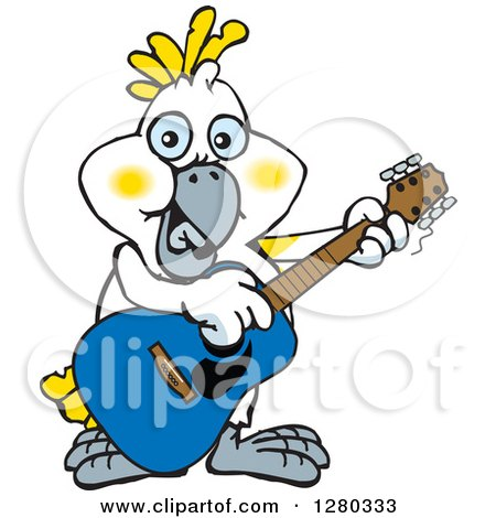Clipart of a Happy Cockatoo Bird Playing an Acoustic Guitar - Royalty Free Vector Illustration by Dennis Holmes Designs