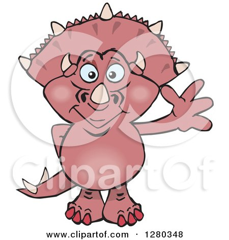 Clipart of a Happy Pink Triceratops Dinosaur Waving - Royalty Free Vector Illustration by Dennis Holmes Designs