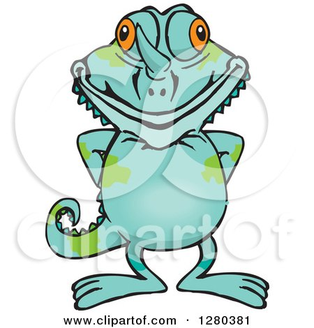 Clipart of a Happy Chameleon Lizard Standing - Royalty Free Vector Illustration by Dennis Holmes Designs