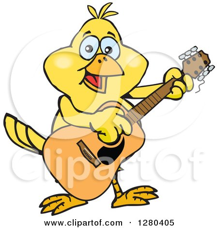 Clipart of a Happy Yellow Canary Bird Playing an Acoustic Guitar - Royalty Free Vector Illustration by Dennis Holmes Designs