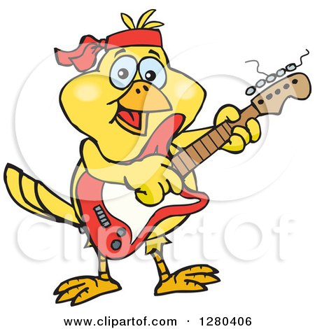 Clipart of a Happy Yellow Canary Bird Playing an Electric Guitar - Royalty Free Vector Illustration by Dennis Holmes Designs