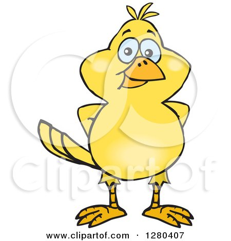 Clipart of a Happy Yellow Canary Bird - Royalty Free Vector Illustration by Dennis Holmes Designs