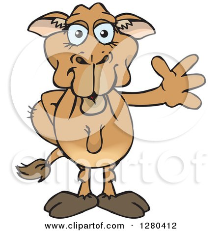 Clipart of a Happy Camel Waving - Royalty Free Vector Illustration by Dennis Holmes Designs