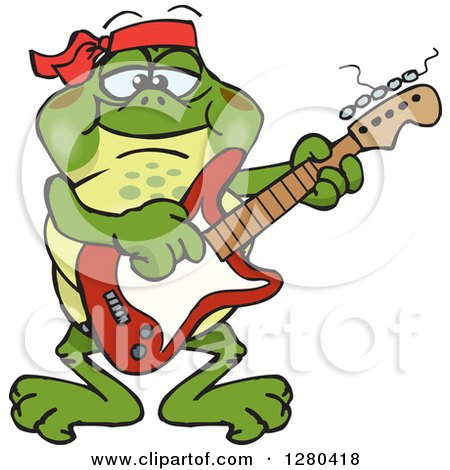 Clipart of a Happy Bullfrog Playing an Electric Guitar - Royalty Free Vector Illustration by Dennis Holmes Designs
