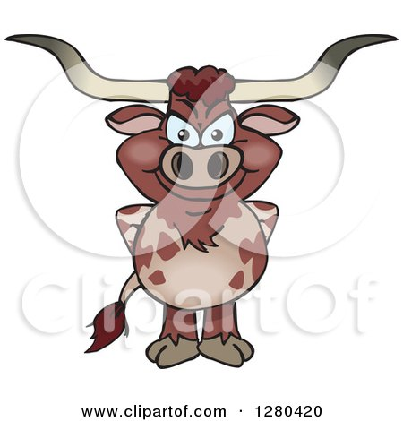 Clipart of a Happy Longhorn Bull Standing - Royalty Free Vector Illustration by Dennis Holmes Designs