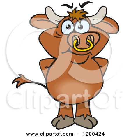 Clipart of a Happy Brown Bull Standing - Royalty Free Vector Illustration by Dennis Holmes Designs