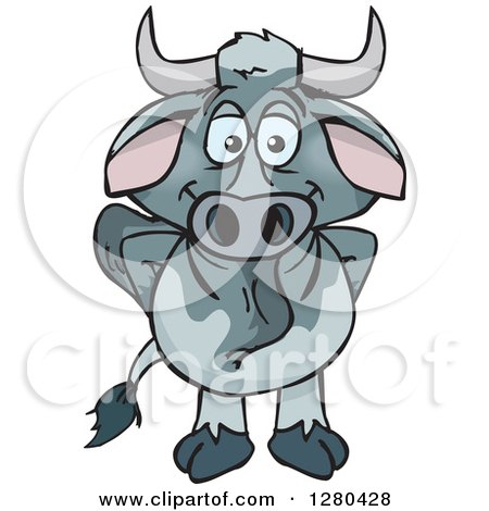 Clipart of a Happy Brahman Bull Standing - Royalty Free Vector Illustration by Dennis Holmes Designs