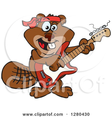 Clipart of a Happy Beaver Playing an Electric Guitar - Royalty Free Vector Illustration by Dennis Holmes Designs