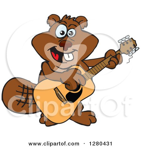 Clipart of a Happy Beaver Playing an Acoustic Guitar - Royalty Free Vector Illustration by Dennis Holmes Designs