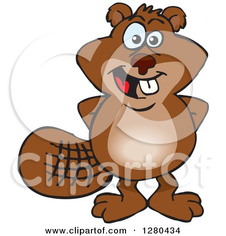 Clipart of a Happy Beaver Standing with His Hands Behind His Back - Royalty Free Vector Illustration by Dennis Holmes Designs