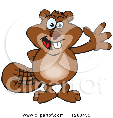 Clipart of a Happy Beaver Waving - Royalty Free Vector Illustration by Dennis Holmes Designs