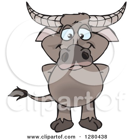 Clipart of a Happy Buffalo Standing - Royalty Free Vector Illustration by Dennis Holmes Designs
