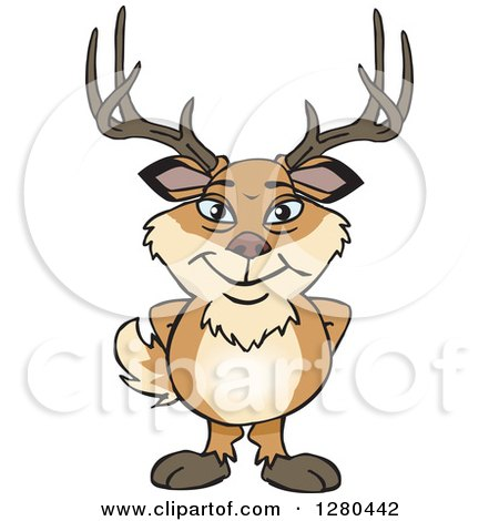 Clipart of a Happy Deer Buck Standing - Royalty Free Vector Illustration by Dennis Holmes Designs