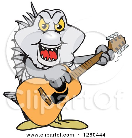 Clipart of a Bream Fish Playing an Acoustic Guitar - Royalty Free Vector Illustration by Dennis Holmes Designs