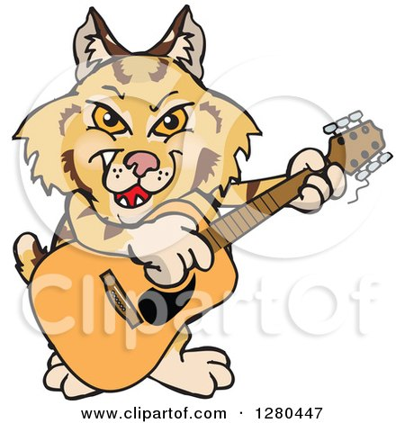Clipart of a Happy Bobcat Playing an Acoustic Guitar - Royalty Free Vector Illustration by Dennis Holmes Designs