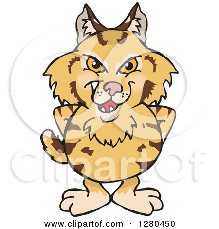 Clipart of a Grinning Bobcat Standing - Royalty Free Vector Illustration by Dennis Holmes Designs