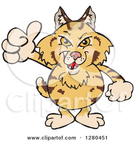 Clipart of a Grinning Bobcat Holding a Thumb up - Royalty Free Vector Illustration by Dennis Holmes Designs