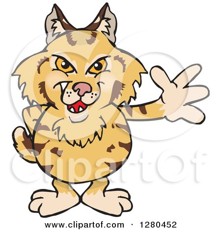 Clipart of a Waving Grinning Bobcat - Royalty Free Vector Illustration by Dennis Holmes Designs