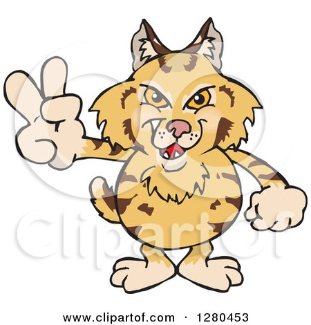 Clipart of a Grinning Bobcat Gesturing Peace - Royalty Free Vector Illustration by Dennis Holmes Designs