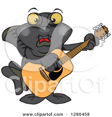 Clipart of a Happy Black Moor Fish Playing an Acoustic Guitar - Royalty Free Vector Illustration by Dennis Holmes Designs