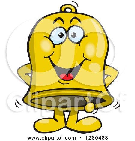 Clipart of a Happy Charity Bell - Royalty Free Vector Illustration by Dennis Holmes Designs