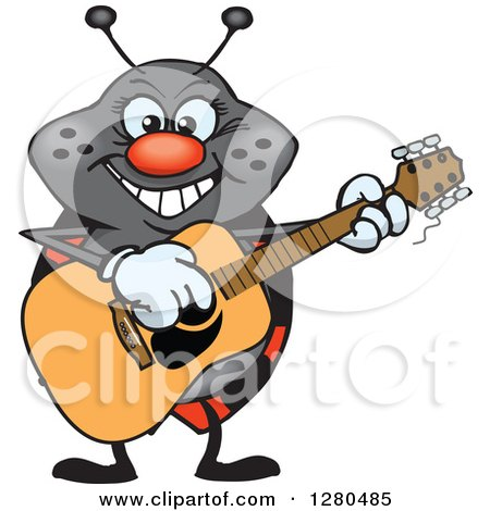 Clipart of a Happy Ladybug Playing an Acoustic Guitar - Royalty Free Vector Illustration by Dennis Holmes Designs