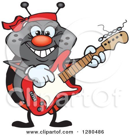 Clipart of a Happy Ladybug Playing an Electric Guitar - Royalty Free Vector Illustration by Dennis Holmes Designs