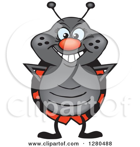 Clipart of a Happy Ladybug Standing - Royalty Free Vector Illustration by Dennis Holmes Designs