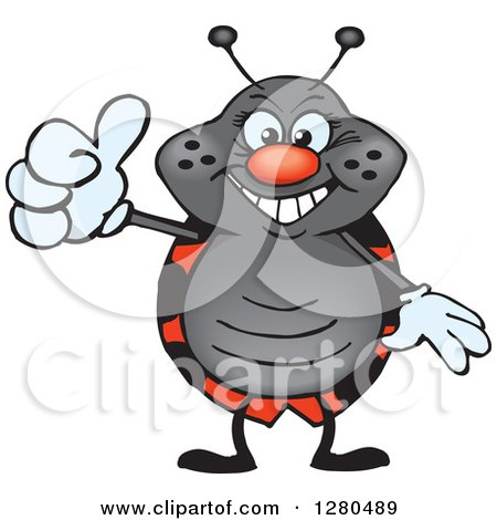 Clipart of a Happy Ladybug Holding a Thumb up - Royalty Free Vector Illustration by Dennis Holmes Designs