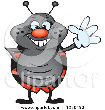 Clipart of a Friendly Waving Ladybug - Royalty Free Vector Illustration by Dennis Holmes Designs