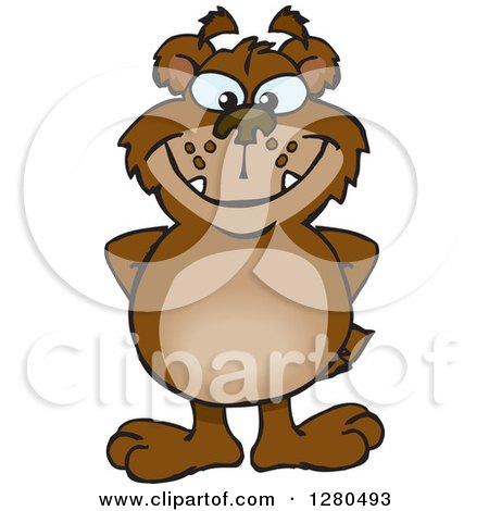 Clipart of a Bear Grinning and Standing with His Hands Behind His Back - Royalty Free Vector Illustration by Dennis Holmes Designs