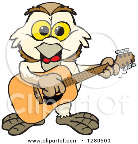 Clipart of a Happy Barn Owl Musician Playing a Guitar - Royalty Free Vector Illustration by Dennis Holmes Designs
