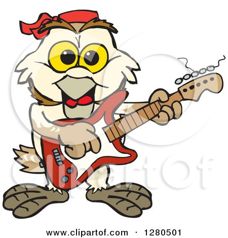 Clipart of a Happy Barn Owl Musician Playing an Electric Guitar - Royalty Free Vector Illustration by Dennis Holmes Designs