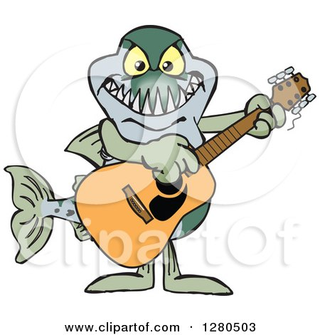 Clipart of a Barracuda Fish Musician Playing a Guitar - Royalty Free Vector Illustration by Dennis Holmes Designs