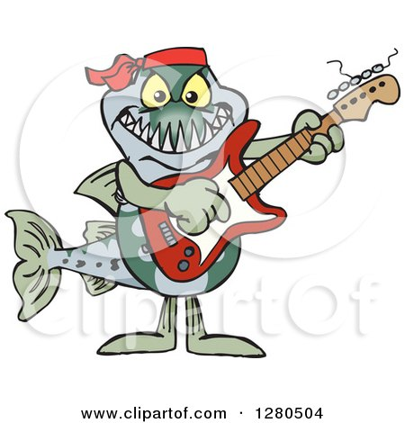 Clipart of a Barracuda Fish Musician Playing an Electric Guitar - Royalty Free Vector Illustration by Dennis Holmes Designs