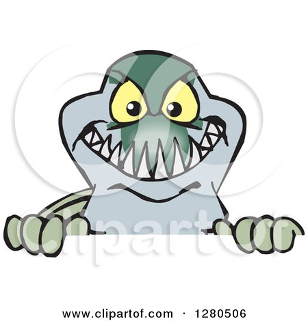 Clipart of a Barracuda Fish Peeking over a Sign - Royalty Free Vector Illustration by Dennis Holmes Designs