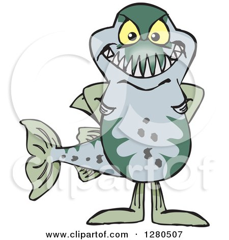 Clipart of a Barracuda Fish Standing - Royalty Free Vector Illustration by Dennis Holmes Designs