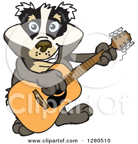 Clipart of a Happy Badger Musician Playing a Guitar - Royalty Free Vector Illustration by Dennis Holmes Designs