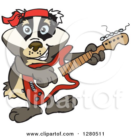Clipart of a Happy Badger Musician Playing an Electric Guitar - Royalty Free Vector Illustration by Dennis Holmes Designs