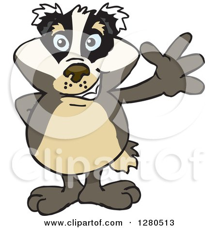 Clipart of a Friendly Waving Honey Badger - Royalty Free Vector Illustration by Dennis Holmes Designs