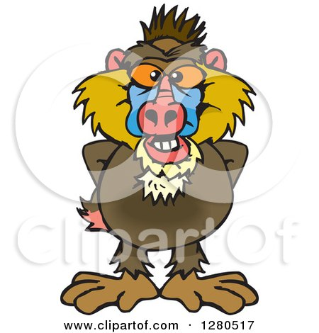 Clipart of a Happy Baboon - Royalty Free Vector Illustration by Dennis Holmes Designs