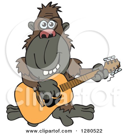 Clipart of a Happy Ape Musician Playing a Guitar - Royalty Free Vector Illustration by Dennis Holmes Designs