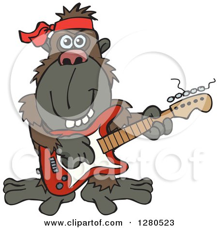 Clipart of a Happy Ape Musician Playing an Electric Guitar - Royalty Free Vector Illustration by Dennis Holmes Designs