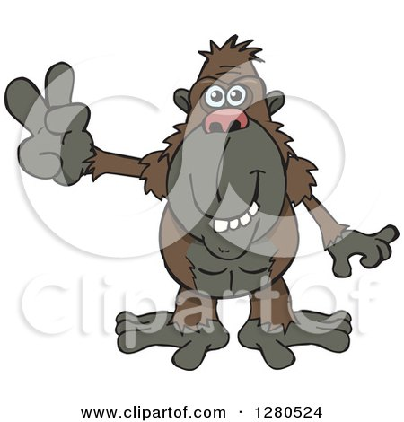 Clipart of a Happy Ape Gesturing Peace - Royalty Free Vector Illustration by Dennis Holmes Designs