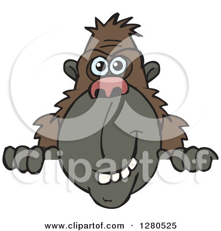 Clipart of a Happy Ape Smiling and Peeking over a Sign - Royalty Free Vector Illustration by Dennis Holmes Designs